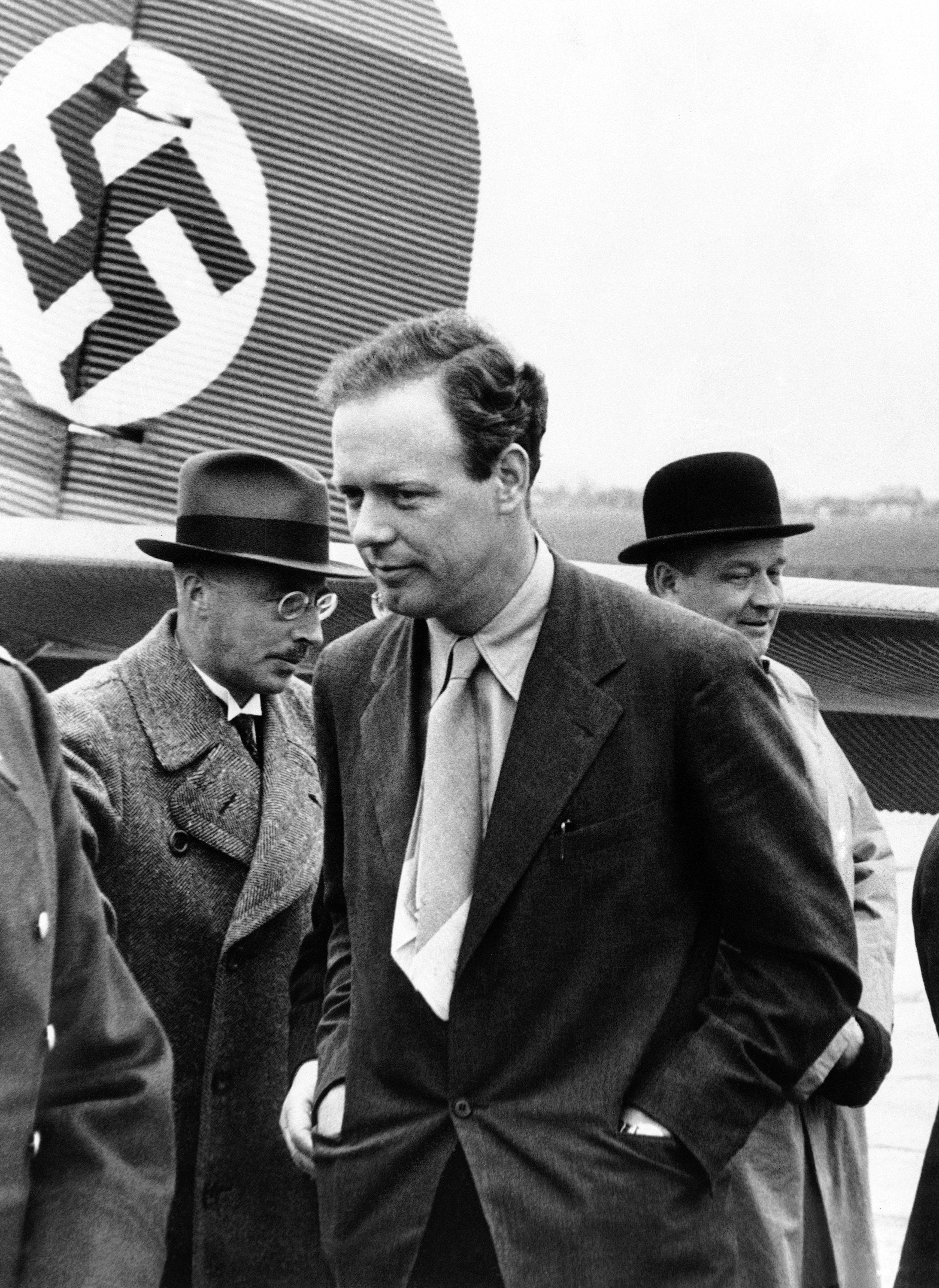 56d03c09 Charles Lindbergh arrives at the Achgells Airplane Works in Bremen, Germany  on Oct. 18, 1937.